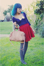 Light-pink-bag-charcoal-gray-socks-deep-purple-mossimo-flats-ruby-red-hand