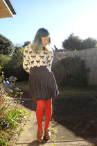 sweater - gray junk skirt - orange Pamela Mann tights - brown 8020 shoes