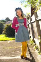 blue Princess Highway dress - pink chicabooti cardigan - white belt - gold Pamel