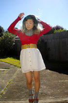 silver poof excellence top - red Paper Scissors cardigan - beige belt - white Sp