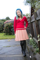 red Ladakh sweater - pink skirt - gray tights - purple Mossimo shoes