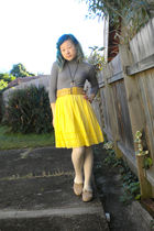 gray Lovely Girl dress - beige belt - gold Marc by Marc Jacobs skirt - beige tig