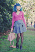 black oxford tights - light pink bag - charcoal gray striped Sunny Girl skirt