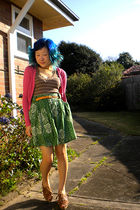 pink Temt cardigan - brown Arizona top - green milk & honey skirt - gold belt -