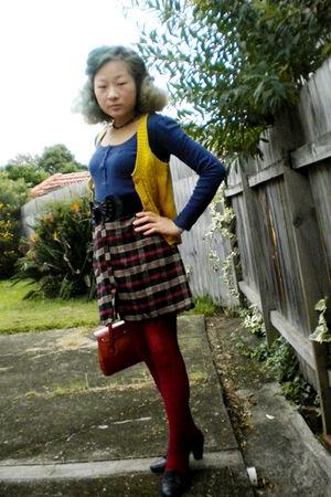 blue shirt - black skirt - gold Lovely Girl vest - black shoes - orange purse -