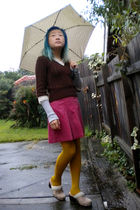brown sweater - pink skirt - gold Pamela Mann tights - beige Union Bay shoes
