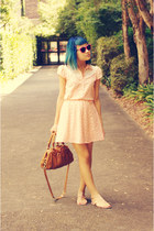 peach vintage dress - bronze Marc by Marc Jacobs bag - pink Barkins sunglasses -