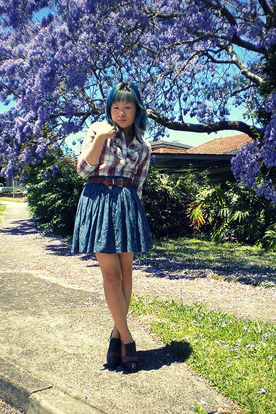 white chicabooti shirt - teal skirt - dark brown belt - tawny Jeffrey Campbell s