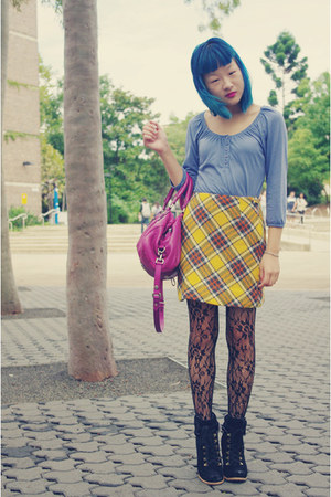 black seychelles boots - black tights - magenta Marc by Marc Jacobs bag - yellow