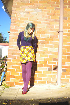purple Ally cardigan - green chicabooti top - gold skirt - purple Target Austral