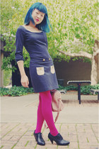 navy thrifted Review dress - hot pink Barkins tights - light pink bag - black th