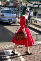 black Revival shirt - red Avocado cardigan - red skirt - black belt - black shoe