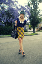 navy Temt top - yellow skirt - tawny Jeffrey Campbell shoes - dark brown Nine We