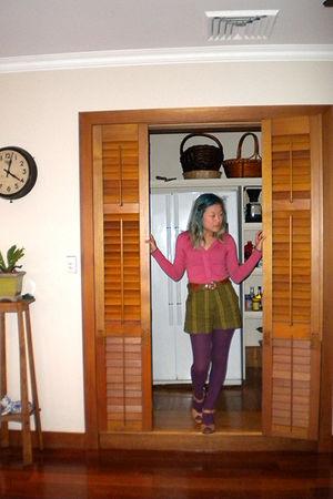pink Temt cardigan - green Esprit shorts - brown belt - purple Target Australia