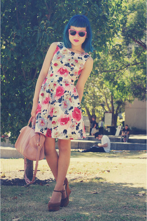 white dress - light pink bag - hot pink sunglasses - brown Jeffrey Campbell wedg