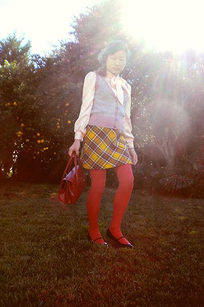 pink blouse - gray Dotti vest - gold skirt - orange tights - purple shoes - oran