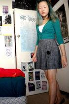 green Avocado cardigan - white energie top - gray Sunny Girl skirt - purple Moss