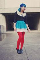 red tights - black Valleygirl cardigan - turquoise blue Topshop skirt - black Al