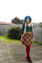 green Old Navy top - gray Dotti vest - red skirt - gold belt - purple tights - b