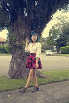 white Hanae Mori blouse - ruby red skirt - camel Mia boots