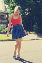 hot pink Barkins sunglasses - teal Nine West wedges - blue thrifted skirt - tawn