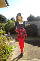 blue Temt top - red skirt - red tights - black Alchemy shoes - gray Oroton bag