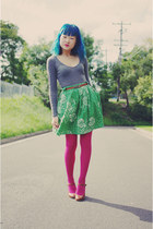 magenta Barkins tights - gray cotton on top - green thrifted milk & honey skirt