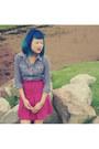 Blue-gingham-ef-collection-shirt-hot-pink-vintage-skirt-black-suede-joanne-m