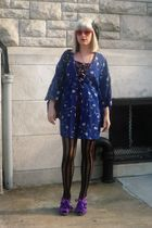 blue jacket - purple Topshop shoes - black Samantha Pleet dress - black Topshop 