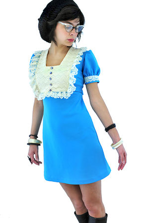 blue 1960s Vintage dolly dress