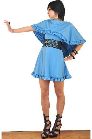 blue vintage 70s dress