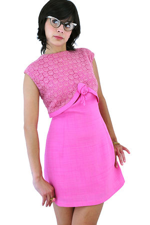 pink 1960s Vintage linen lace party mini dress