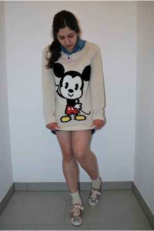 mickey mouse H&M sweater - denim Forever 21 shirt - denim Seven shorts