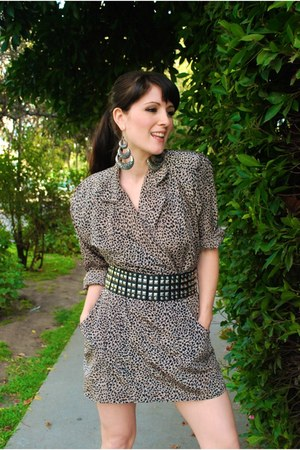 leopard print thrifted vintage dress