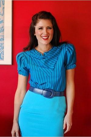 blue silk thrifted vintage skirt
