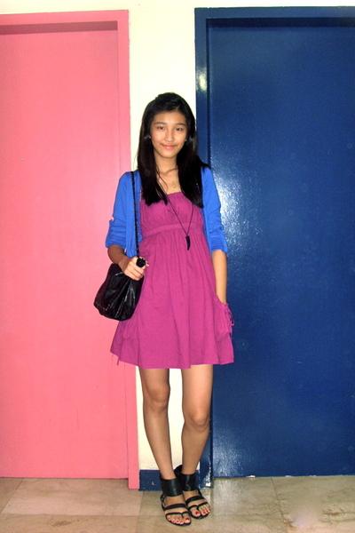 pink 168 dress - blue The Ramp cardigan - black Zara shoes - black from hong kon