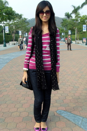 pink Terranova sweater - black Poisonberry vest - black Zara scarf - black Mango