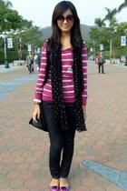 pink Terranova sweater - black Poisonberry vest - black Zara scarf - black Mango