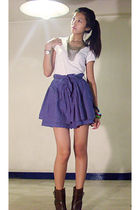 gold Forever 21 necklace - brown Zara boots - purple Mango skirt - white random