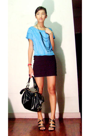 blue H&M top - silver SM shoes - black Charles and Keith purse - black H&M skirt