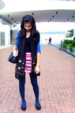 pink Topshop skirt - black from hong kong scarf - blue Tomato tights - black ran