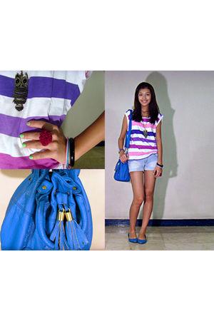 blue Forever 21 purse - blue Redtag Rustans shoes - pink Mango top - black H&M a