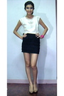 White-zara-shirt-black-h-m-skirt-silver-sm-shoes-pink-mango-bracelet-bla