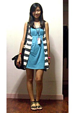 blue random dress - black Charles and Keith purse - black prp shoes - black from