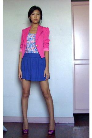 blazer style district - skirt Topshop - top Zara - hot pink pumps