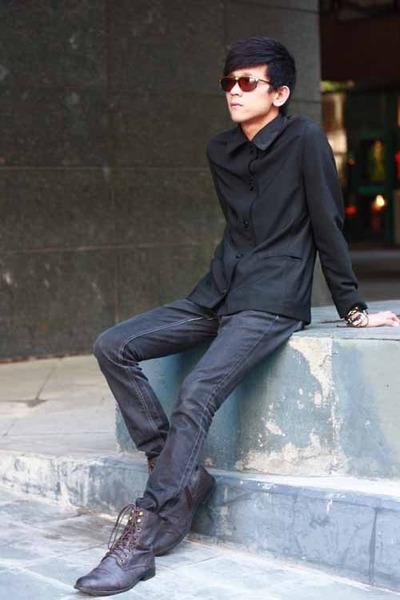 boots Forever21 boots - black Zara blazer