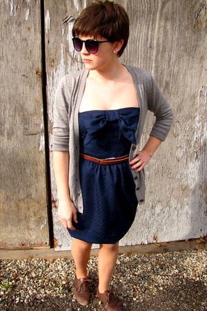gray Gap cardigan - blue Blonde dress - brown Gap belt