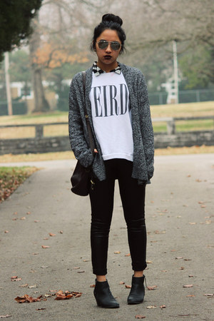 black Express boots - white Forever 21 sweatshirt - charcoal gray Gap cardigan