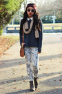 Dark-brown-forever-21-boots-blue-pattern-h-m-pants-dark-gray-h-m-sweatshirt