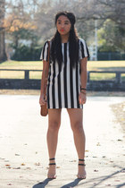 black striped Forever 21 dress - nude sandal Mango heels